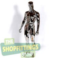 Male Chrome Mannequin With Abstract Style Face